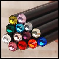 Гламурный чернографитовый карандаш с кристалликом, 12 расцветок в ассортименте.