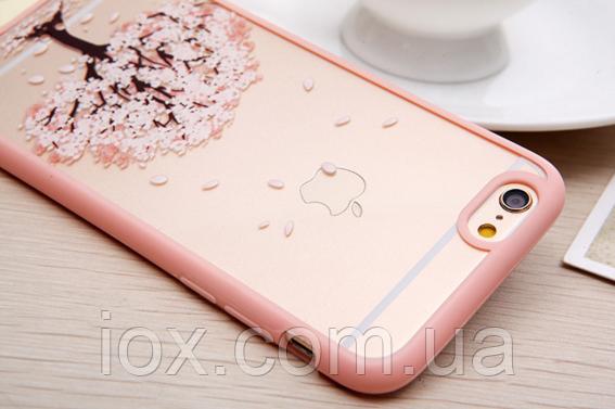 """Пластиково-силиконовый чехол-бампер """"Розовое дерево"""" для Iphone 6/6S"""