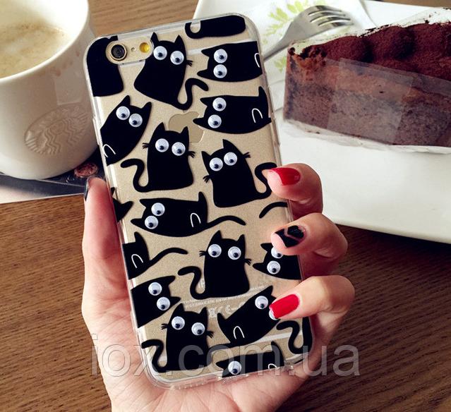 """Жесткий силиконовый чехол с бегающими глазами """"Коты"""" для Iphone 6/6S"""