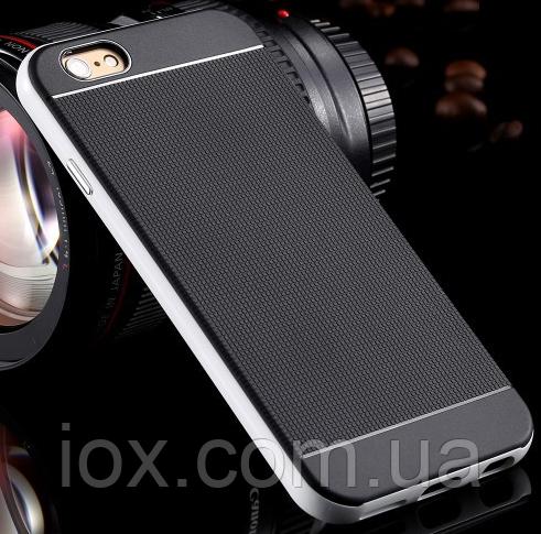 Черно-серебренный силиконовый чехол-бампер для Iphone 6/6S