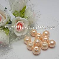 Бусины под жемчуг керамические, 8 мм, персиковые (10 шт)