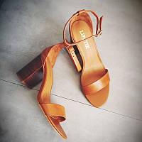 Кожаные босоножки на квадратном каблуке, фото 1