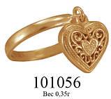 Кольцо  женское серебряное с подвеской Сердце 101 056, фото 2