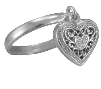 Кольцо  женское серебряное с подвеской Сердце 101 056