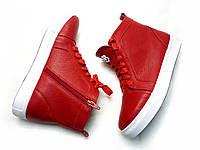 Ботинки кеды Б-430 из натуральной кожи красного цвета на белой подошве