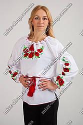 Женская стильная вышиванка. Вышиванка Маки