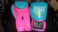 Перчатки боксерские женские бирюзово-розовые 10 унций