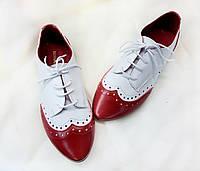 Туфли Т-415 кожа натуральная цвет красный с белым