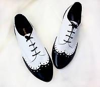Туфли Т-415 кожа натуральная цвет белый с черным