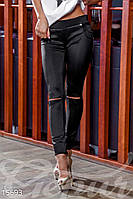 Трендовые женские леггинсы с низкой посадкой с разрезами на коленях дайвинг