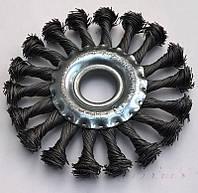 Щетка по металлу для болгарки боковая из витого троса 115 мм