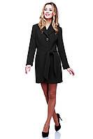 Черное кашемировое пальто с поясом