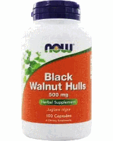 Черный орех, Now Foods, Black Walnut Hulls, (500mg), 100 caps