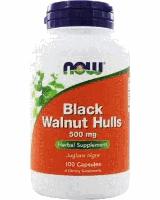 Черный орех, Now Foods, Black Walnut Hulls, (500mg), 100 caps
