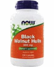 Чорний горіх, Now Foods, Black Walnut Hulls, (500mg), 100 caps