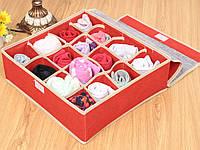 Органайзер для хранения нижнего белья на 16 ячеек красный