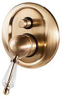 Бронзовый смеситель для душа скрытого монтажа с ручкой Сваровски BUGNATESE MAYA 8972