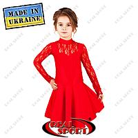 Платье рейтинговое бифлекс с гипюром П1642 красный