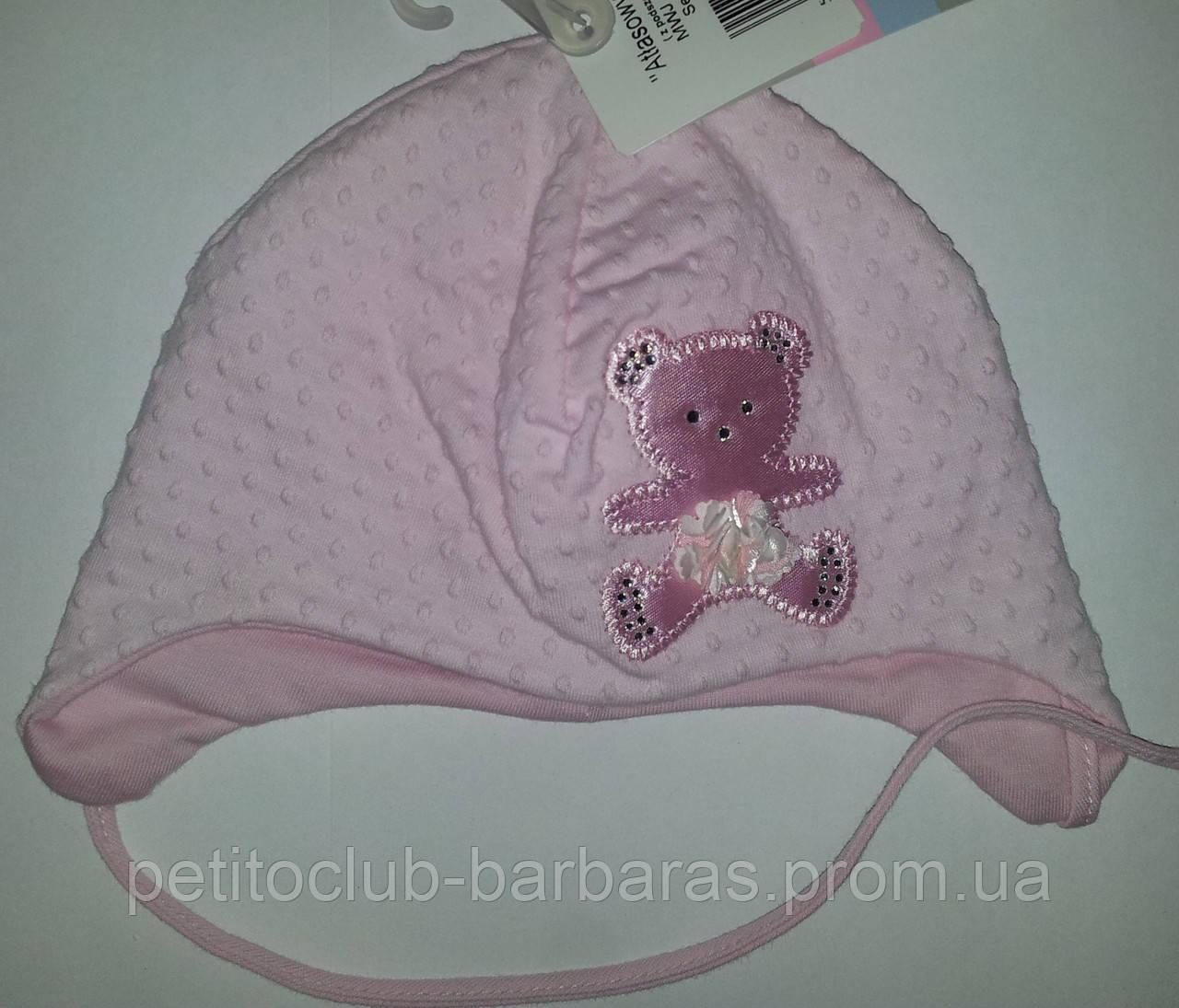"""Нарядная шапка для девочки """"Атласный мишка"""" розовая (Marika, Польша)"""