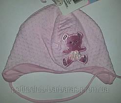 """Детская нарядная шапка для новорожденной девочки """"Атласный мишка"""" розовая (Marika, Польша)"""