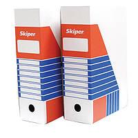 Архивный бокс, картон, 10 см Skiper (блий)