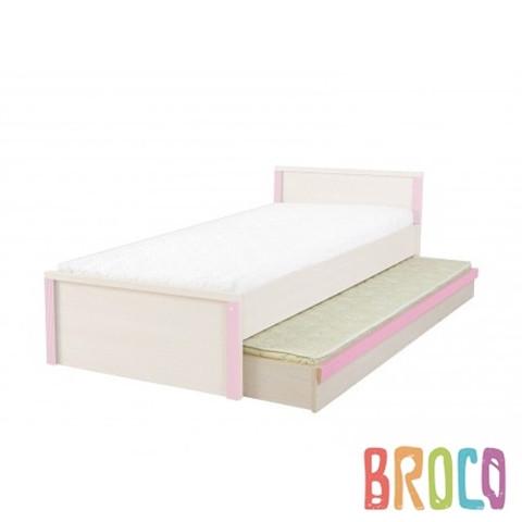 Кровать выдвижная BRW Caps LOZ/85D дуб светлый belluno/розовый
