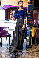 Вечернее комбинированное женское платье с гипюровым верхом с пышной шифоновой юбкой в пол рукав три четверти