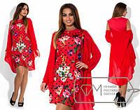 Красивое красное платье в горошек+цветы с шифоновой накидкой.  Арт-1856/5