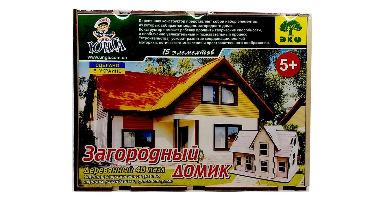 Деревянные 4D пазлы П-004 Загородный домик - Online Market Plus в Одессе