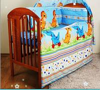 """Комплект постели для новорожденных  из 8 ед-""""Дино синий"""". Балдахин  вуаль цветная"""