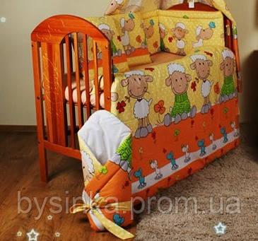 """Набор детского постельного из 8 предметов-""""Барашки желтый"""". Балдахин  вуаль цветная"""