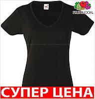 Женская футболка з V-образным вирезом 100% хлопок Цвет Чёрный Размер M 61-398-36 M