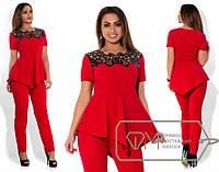 Летний стильный красный батальный костюм-двойка, блуза баска+брюки . Арт-1862/5.
