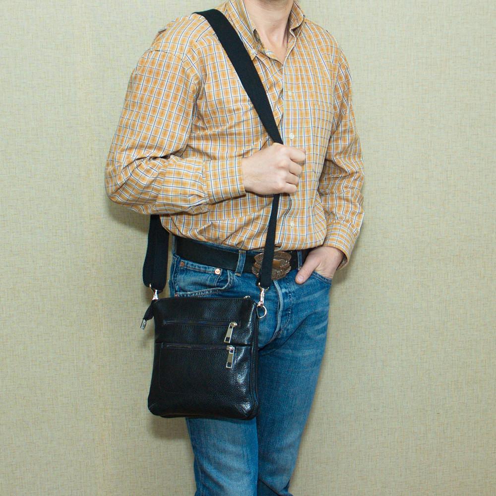 Мужская кожаная сумка 06 черный флотар 04060101