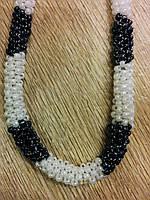 Бусы - жгут , плетение черно-белый биссер 55 см
