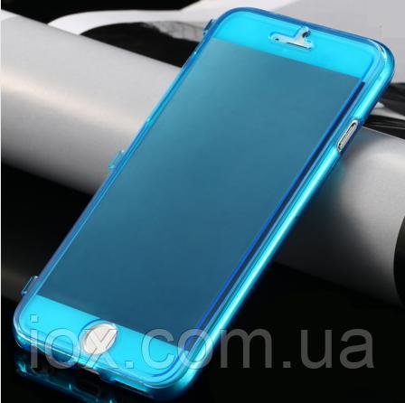 Синий силиконовый чехол-книжка 100% защита для Iphone 6/6S