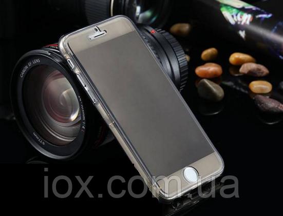 Серый силиконовый чехол-книжка 100% защита для Iphone 6/6S