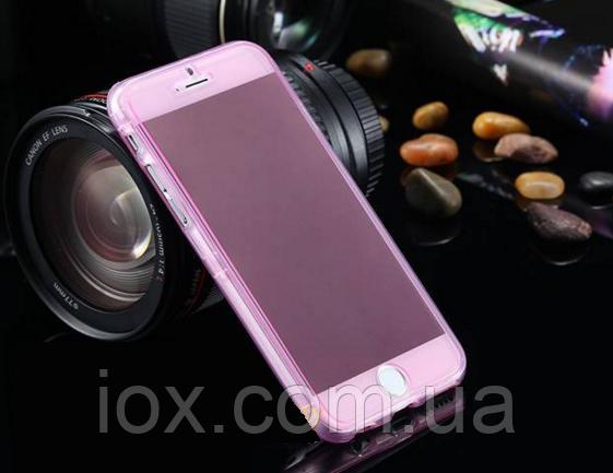 Розовый силиконовый чехол-книжка 100% защита для Iphone 6/6S