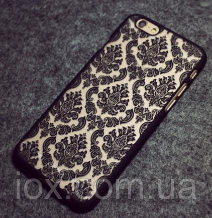 Черный пластиковый ажурный чехол для Iphone 6/6S