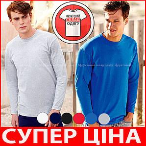 Мужская футболка с длинным рукавом классическая 100% хлопок