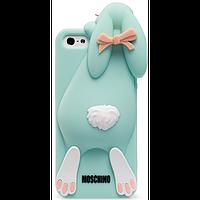 Силиконовый чехол бирюзовый зайчик Moschino для Iphone 6/6S, фото 1