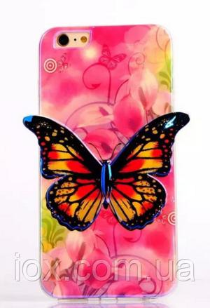 """Силиконовый розовый чехол """"Бабочка"""" 3D для Iphone 6/6S"""