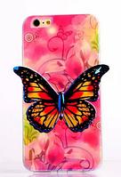 """Силиконовый розовый чехол """"Бабочка"""" 3D для Iphone 6/6S, фото 1"""