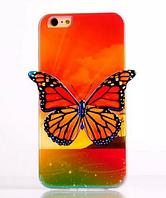 """Силиконовый оранжевый чехол """"Бабочка"""" 3D для Iphone 6/6S"""
