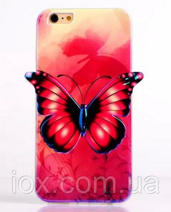 """Силиконовый фиолетовый чехол """"Бабочка"""" 3D для Iphone 6/6S"""