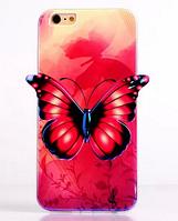 """Силиконовый фиолетовый чехол """"Бабочка"""" 3D для Iphone 6/6S, фото 1"""