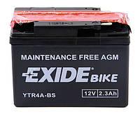 Аккумулятор AGM мото 2.3Ah 35A EXIDE YTR4A-BS для Suzuki Lets , Honda Giorno