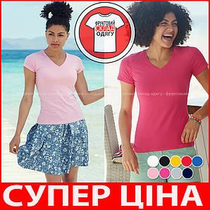 Женская футболка з V-образным вирезом 100% хлопок