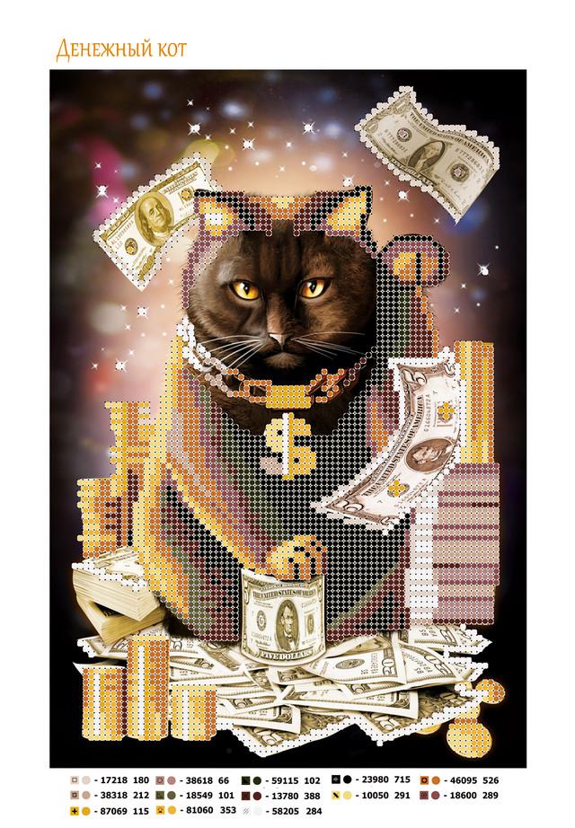 схема, бисер, кот, деньги, к деньгам, оберег, символ вышивка бисером