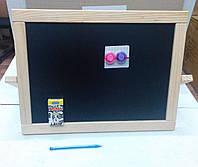 Мольберт Настольный, двухсторонний магнитный (деревянный, 2 магнита, мелки) (М014), фото 1
